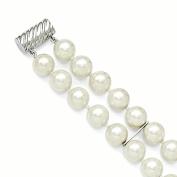 Sterling Silver Majestik 2 Row 10-11mm White Shell Bead Bracelet