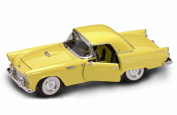 1955 Ford Thunderbird Convertible with Removable Bonnet, Yellow - Road Signature 92068 - 1/18 Scale Diecast Model Toy Car