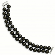 Sterling Silver Majestik 2 Row 10-11mm Black Shell Bead Bracelet
