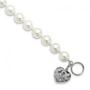 Sterling Silver Majestik 10-11mm White Shell Bead w/Heart Bracelet