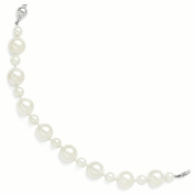 Sterling Silver Majestik 7 & 12 mm White Shell Bead Hand Knotted Bracelet