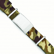 Stainless Steel Polished Brown Camo Fabric Adjustable ID Bracelet