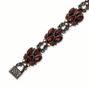 Black-plated Red Crystal 18cm Bracelet