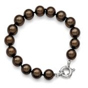 Sterling Silver Majestik 10-11mm Brown Shell Bead Bracelet
