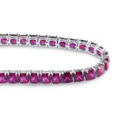 Lovely 5mm Cushion Cut Created Ruby Tennis Bracelet for women