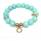 Julieta Jewellery Aqua Quartz Circle Charm 14kt Gold over Sterling Silver Stretch Bracelet