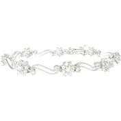 Plutus Sterling Silver Platinum-Finish Antique Style Tennis Bracelet