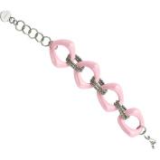 Primal Steel Stainless Steel Pink Ceramic Link Bracelet