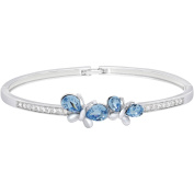 American Designs Aquamarine Blue Crystal and Clear Crystal Sterling Silver Butterfly Bangle Bracelet