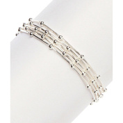 PORI Jewellers Italian Sterling Silver 5-Strand Diamond-Cut Snake Link with Balls Bracelet, 19cm