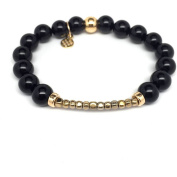 "Julieta Jewellery Black Onyx ""Harper"" 14kt Gold over Sterling Silver Stretch Bracelet"