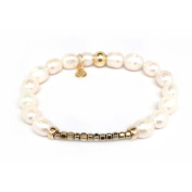 "Julieta Jewellery Freshwater Pearl ""Harper"" 14kt Gold over Sterling Silver Stretch Bracelet"