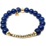 "Julieta Jewellery Blue Jade ""Harper"" 14kt Gold over Sterling Silver Stretch Bracelet"