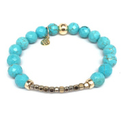 "Julieta Jewellery Turquoise Magnesite ""Harper"" 14kt Gold over Sterling Silver Stretch Bracelet"