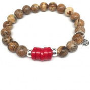 "Julieta Jewellery Tan Picture Jasper ""Coral"" Sterling Silver Stretch Bracelet"
