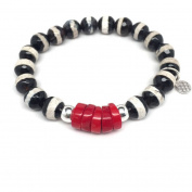 """Julieta Jewellery Black and White Agate """"Coral"""" Sterling Silver Stretch Bracelet"""