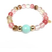 "Julieta Jewellery Cherry Quartz ""Pride"" 14kt Gold over Sterling Silver Stretch Bracelet"