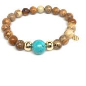 "Julieta Jewellery Tan Picture Jasper ""Pride"" 14kt Gold over Sterling Silver Stretch Bracelet"