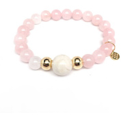 "Julieta Jewellery Rose Quartz ""Pride"" 14kt Gold over Sterling Silver Stretch Bracelet"
