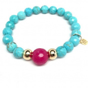 "Julieta Jewellery Turquoise Magnesite ""Pride"" 14kt Gold over Sterling Silver Stretch Bracelet"