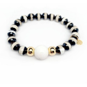 """Julieta Jewellery Black and White Agate """"Pride"""" 14kt Gold over Sterling Silver Stretch Bracelet"""
