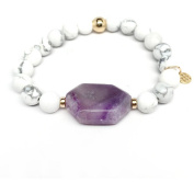 """Julieta Jewellery White Howlite and Purple """"Rock Candy"""" 14kt Gold over Sterling Silver Stretch Bracelet"""