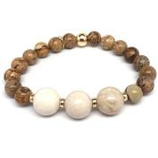 "Julieta Jewellery Tan Picture Jasper ""Trinity"" 14kt Gold over Sterling Silver Stretch Bracelet"