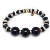 """Julieta Jewellery Black and White Agate """"Trinity"""" 14kt Gold over Sterling Silver Stretch Bracelet"""
