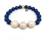 "Julieta Jewellery Blue Jade ""Trinity"" 14kt Gold over Sterling Silver Stretch Bracelet"
