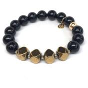 "Julieta Jewellery Black Onyx ""Enchanted"" 14kt Gold over Sterling Silver Stretch Bracelet"
