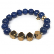 "Julieta Jewellery Blue Jade ""Enchanted"" 14kt Gold over Sterling Silver Stretch Bracelet"