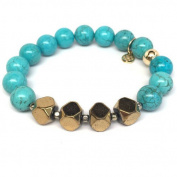 """Julieta Jewellery Turquoise Magnesite """"Enchanted"""" 14kt Gold over Sterling Silver Stretch Bracelet"""