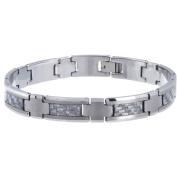 Daxx Men's Tungsten Dark Grey Carbon Fibre Inlay Link Bracelet