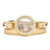 Gold Lame Floating Charm Locket Bracelet