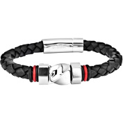 """Steel Art Men's Stainless Steel Braided Leather Bracelet with Polish Finished Steel Bolt Designs in the Middle and Small Rubber Stopper on Each Side, 9mm, 8-1/2"""""""