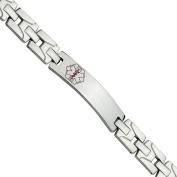 Primal Steel Stainless Steel Brushed and Polished Red Enamel Medical Bracelet, 20cm