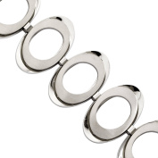 Primal Steel Stainless Steel Brushed and Polished Circles Bracelet, 20cm with 2.5cm Extender