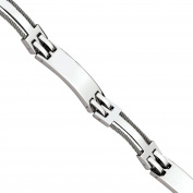 Primal Steel Stainless Steel Wire Polished Bracelet, 22cm