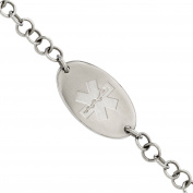 Primal Steel Stainless Steel Brushed Medical ID Bracelet, 18cm with 2.5cm Extender