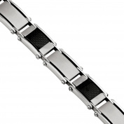 Primal Steel Stainless Steel Brushed and Polished Black Carbon Fibre Inlay Bracelet, 22cm
