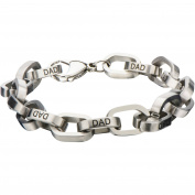 Steel Art Men's Stainless Steel Rolo Link with Black DAD Inscription Bracelet