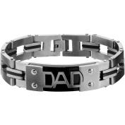Steel Art Men's Stainless Steel DAD Engraved with Black IP and Steel Link Bracelet