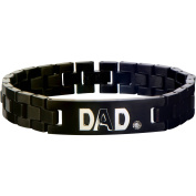 Steel Art Men's Stainless Steel Black IP ID with Clear CZ and Steel DAD Inscription Link Bracelet