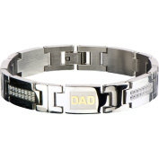 Steel Art Men's Stainless Steel Link with Clear CZ Bling and Gold IP DAD Inscription Bracelet