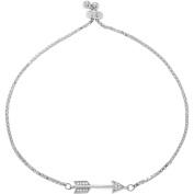 Brinley Co. Women's CZ Sterling Silver Arrow Lariat Fashion Bracelet, 25cm