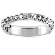 "Crucible Stainless Steel ID Bracelet with Curb Chain, 9"", 14mm"