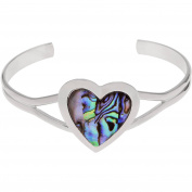 Brinley Co. Women's Silver-Tone Paua Shell Heart Emblem Cuff Fashion Bracelet, 15cm