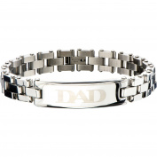 Steel Art Men's Stainless Steel Polished ID DAD Inscription Classic Link Bracelet