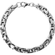 "Steel Art Men's Stainless Steel Byzantine Style Polish Finished Chain Bracelet, 9.5mm, 8-1/2"" Long"