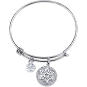 Disney Frozen Women's Stainless Steel Let it Go Crystal Snowflake and 8mm Clear Bead Bangle Bracelet